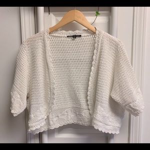 Crochet vintage short sleeve crop cardigan